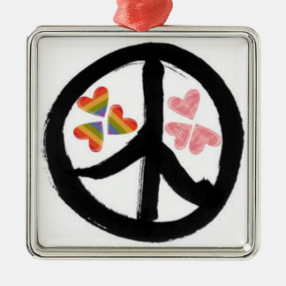 Peace of Hearts Square Metal Christmas Ornament