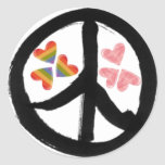 Peace of Hearts Round Sticker