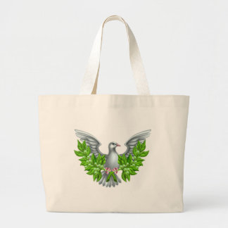 Peace Olive Branch Dove Large Tote Bag