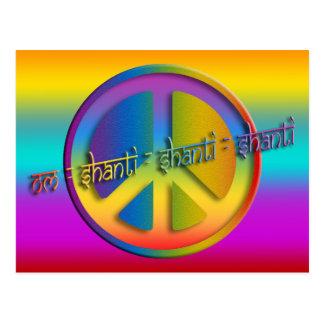 PEACE OM SHANTI | coloured linear Postcard