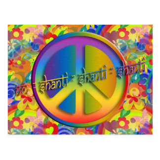 Peace Om Shanti | flower power Postcard