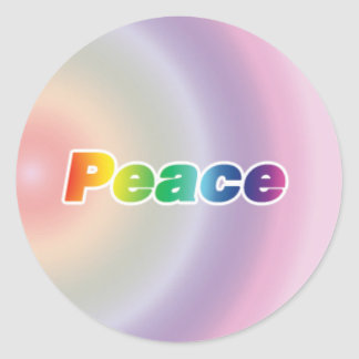 Peace on a Rainbow Background Classic Round Sticker