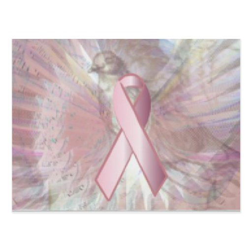 Peace On Angelic Wings Pink Ribbon Post Card