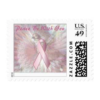 Peace On Angelic Wings Pink Ribbon Postage