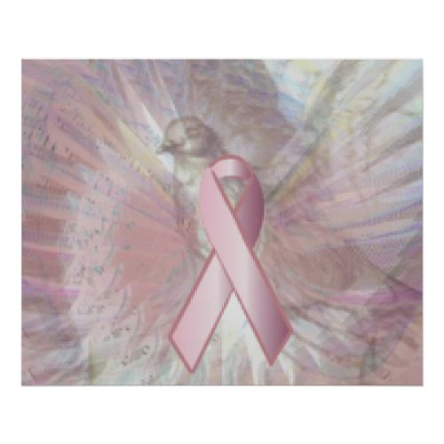 Peace On Angelic Wings Pink Ribbon Poster zazzle_print