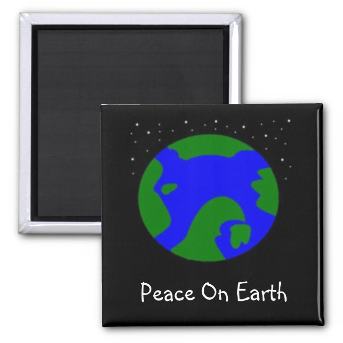 PEACE ON EARTH 2 INCH SQUARE MAGNET