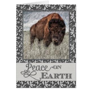 Peace on Earth - American Buffalo - Bison Greeting Card