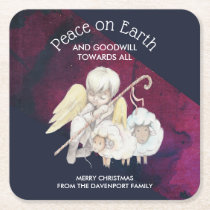Peace on Earth and Goodwill Toward All Shepherd Square Paper Coaster