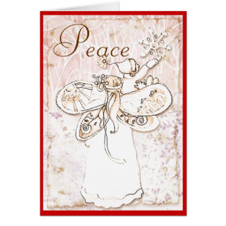 Peace on earth angel and child card