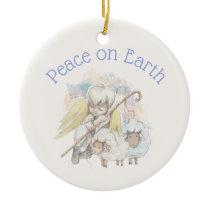 Peace on Earth Angel Shepherd & Lambs Ceramic Ornament