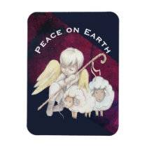 Peace on Earth Angel Shepherd & Lambs Magnet