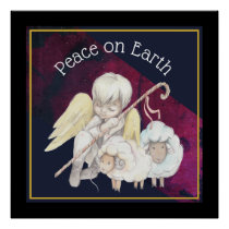 Peace on Earth Angel Shepherd & Lambs Poster