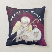 Peace on Earth Angel Shepherd & Lambs Throw Pillow