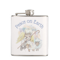 Peace on Earth Angel Shepherd with Lambs Flask