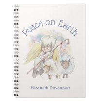 Peace on Earth Angel Shepherd with Lambs Notebook