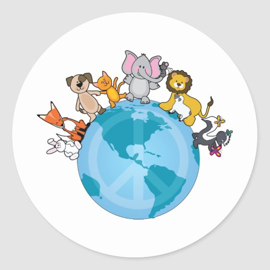 Peace On Earth Animals Classic Round Sticker