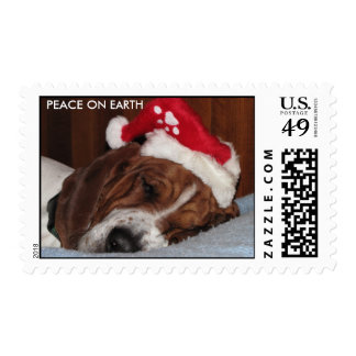 PEACE ON EARTH Basset hound STAMPS
