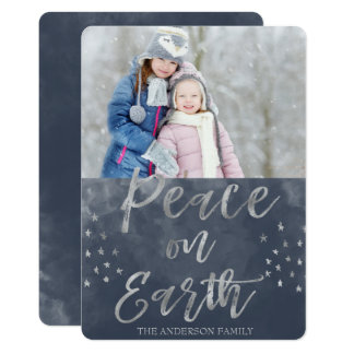 Peace on Earth Blue and Silver Watercolor Photo Card