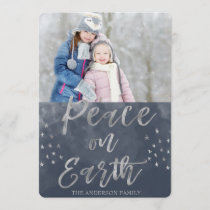 Peace on Earth Blue and Silver Watercolor Photo Holiday Card
