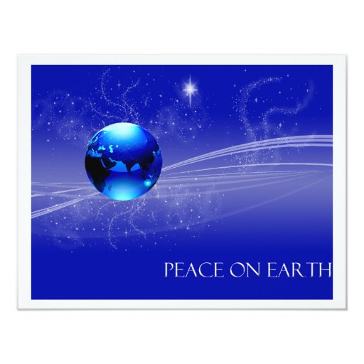 Peace on Earth - Blue 4.25x5.5 Paper Invitation Card