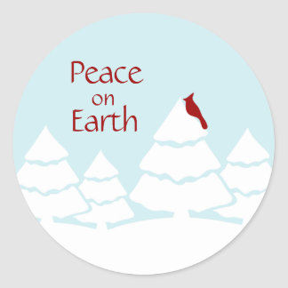 Peace on Earth Cardinal Holiday Stickers