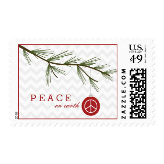 Peace On Earth Chevron Christmas Tree Postage