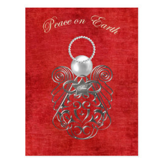 Peace on Earth - Christmas Angel of Peace - Red Postcard