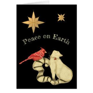Peace on Earth Christmas Cat and Bird Card