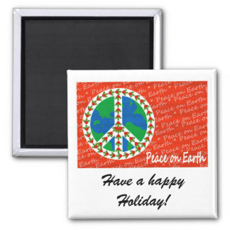 Peace on Earth Christmas 2 Inch Square Magnet