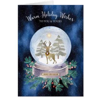 Peace on Earth Christmas Reindeer Snow Globe Card