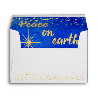 Peace on Earth Christmas Simple Front and Flap Envelope