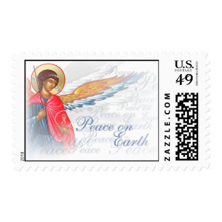 Peace on Earth Christmas stamp with Angel