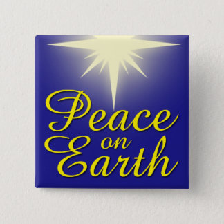 Peace on Earth Christmas Star Holiday Button