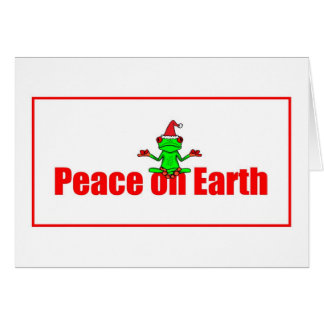 Peace on Earth Christmas Tree Frog in a Santa Hat Card
