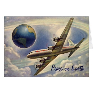 Peace on Earth Christmas, Vintage Airplane World Greeting Card