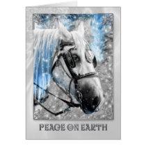 Peace on Earth Christmas White Horse Card