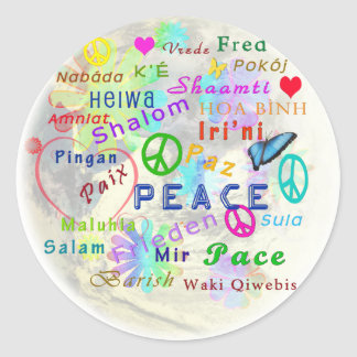 Peace on earth classic round sticker