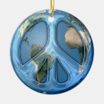 Peace On Earth Double-Sided Ceramic Round Christmas Ornament