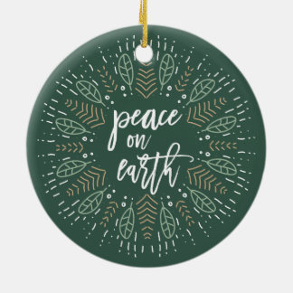 Peace on Earth Double-Sided Holiday Photo Ceramic Ornament