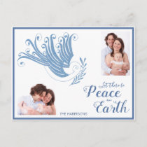 Peace on Earth Dove Christmas Photo Blue Holiday Postcard
