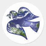 Peace on Earth Dove Classic Round Sticker