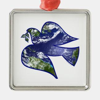 Peace on Earth Dove Metal Ornament