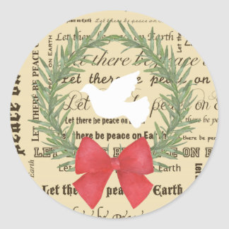 Peace on Earth Dove, Olive Leaves, Typography, Bow Classic Round Sticker