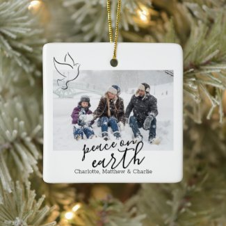 Peace on earth dove Personalized Photo Ceramic Ornament