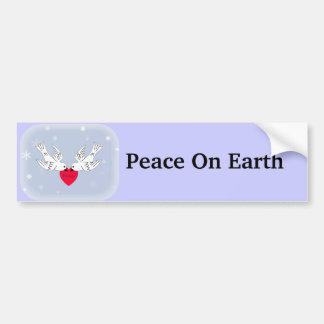 Peace on Earth Doves Heart Snowflakes Car Bumper Sticker