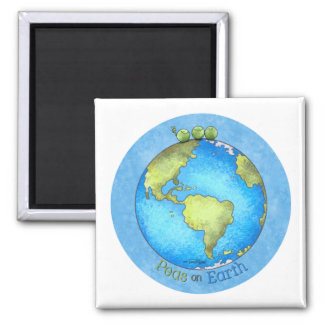 Peace on Earth - Earth day 2 Inch Square Magnet