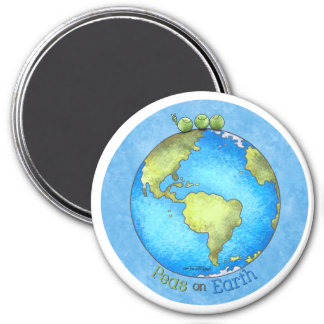 Peace on Earth - Earth day 3 Inch Round Magnet