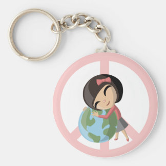 """""""Peace on Earth"""" Emily Basic Round Button Keychain"""