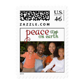 Peace on earth family photo template stamps