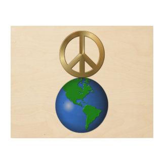 Peace On Earth Fun Rebus Holiday Greeting Wood Print